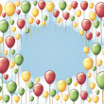 Festive balloons in blue sky — Stock Vector