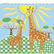 Two cute giraffe — Stock Vector