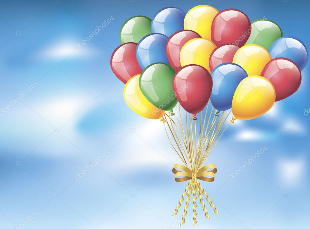 Colorful balloons flying in the sky  — Stock Vector #6822243