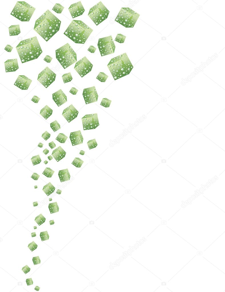 Abstract green and blue cubes covered with fresh water drops on a white background — Stock Vector #6822406