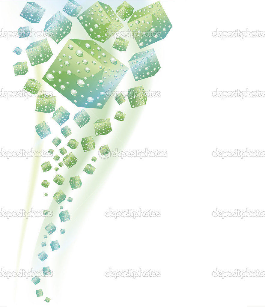 Abstract green and blue cubes covered with fresh water drops on a white background — Stock Vector #6822413