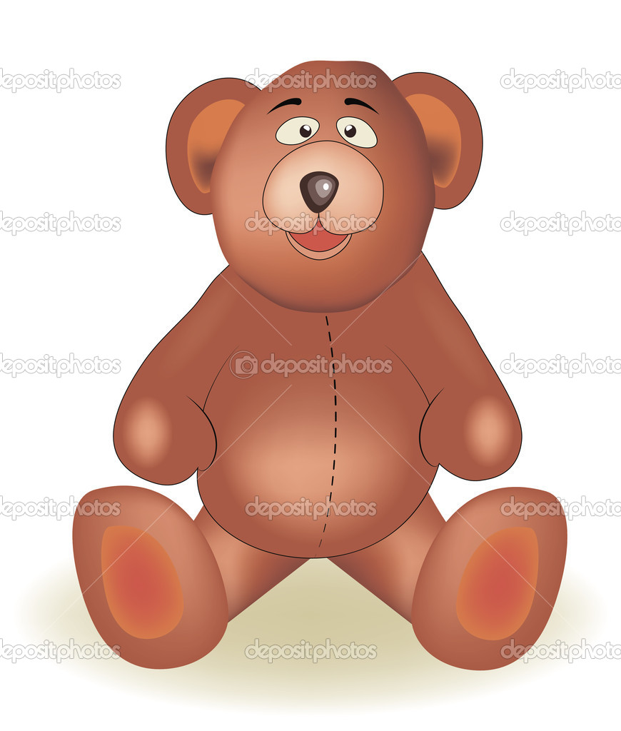 Cute teddy bear on white background  — Stock Vector #6822436