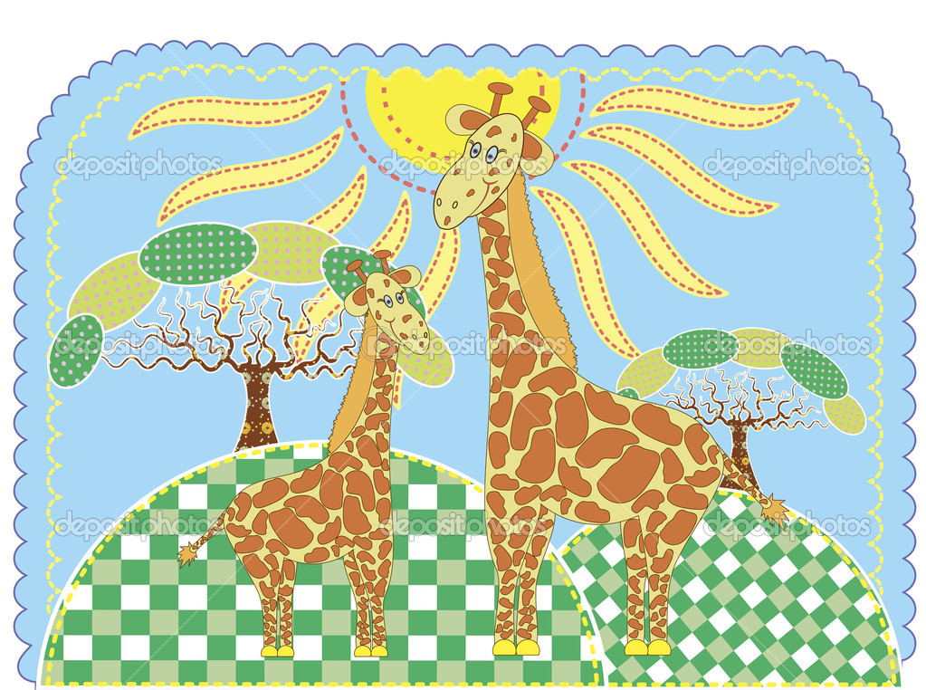Mother-giraffe and baby-giraffe. Vector illustration.  — Stock Vector #6822947