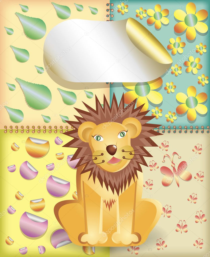 Greeting card with cute lion  — Stock Vector #6823001