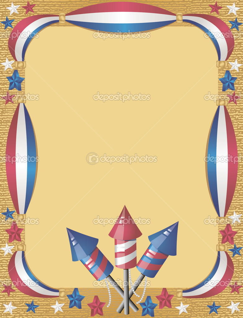4th July greeting card with fireworks for holiday  Stock Vector #6823003