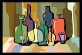 Botellas coloridas — Vector de stock