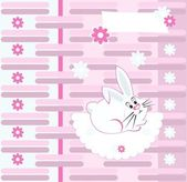Stylish greeting card with rabbit and flowers, vector illustration — Vecteur