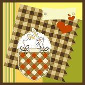 Стильная открытка с кроликом и сердца, векторные иллюстрации — Cтоковый вектор