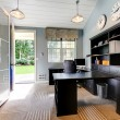 Blue modern home office interior design with dark brown furniture. — Stockfoto