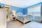 Blue girls kids bedroom interior. — Stock Photo