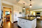 Luxury white large modern kitchen. — Stock Photo