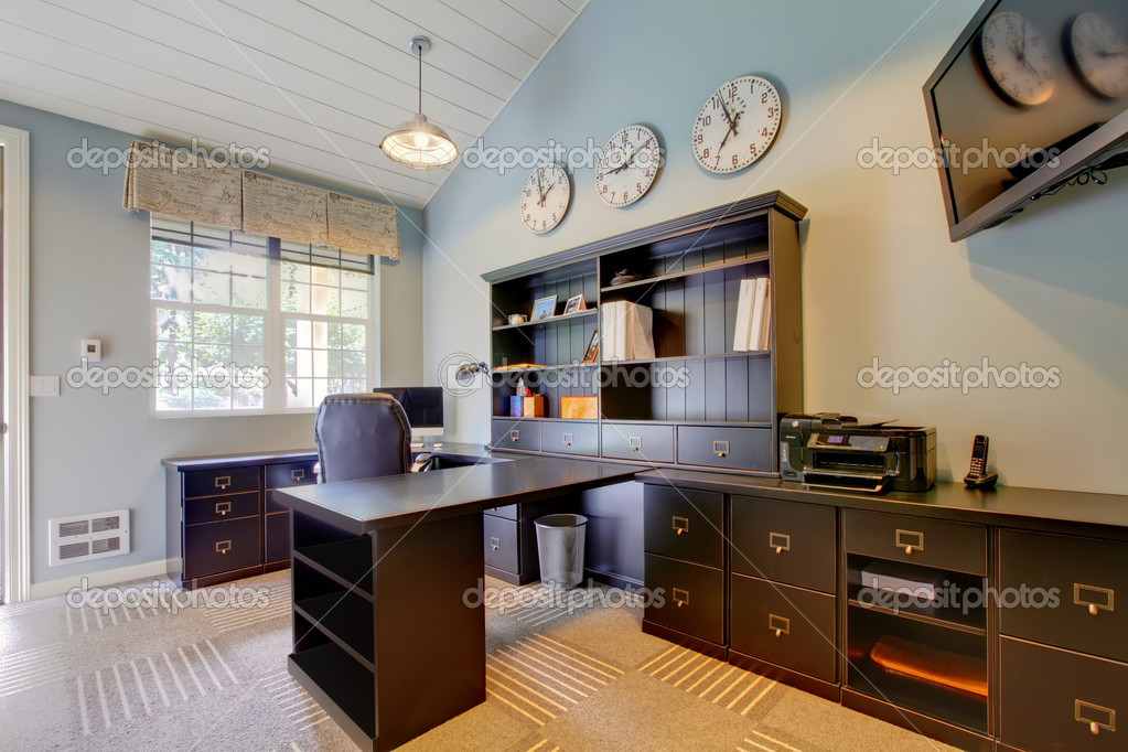 Blue modern home office interior design with dark brown for Office design blue