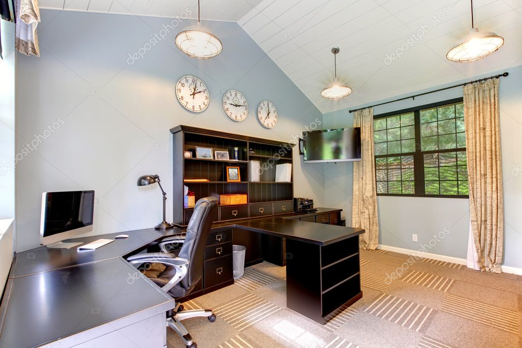 blue modern home office interior design with dark brown furniture stock image blue brown home office