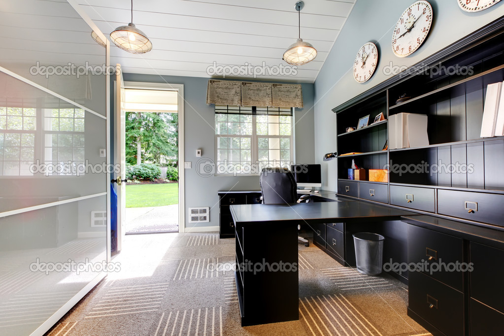 Blue modern home office interior design with dark brown for Interior design dark brown furniture