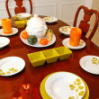 Dining room table ith plates for the fall dinner — Stock Photo