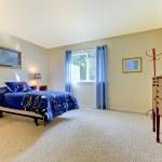 grande chambre à coucher avec lit bleu et beiges murs garçons — Photo