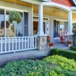 Stock Photo: Front porch of new beautiful grey home