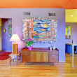 Retro bright living room with purple wall — 图库照片