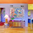 Retro bright living room with purple wall — Stock fotografie