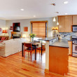 Stock Photo: Kitchen, dining and living room of the city home
