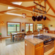 Large living room on the horse ranch with the kitchen. — Stock Photo #7598291
