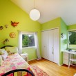 Green kids, girls bedroom.with white furniture. — Stok fotoğraf
