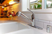 New white kitchen sink. — Stock Photo