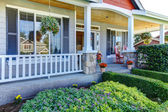 Front porch of the new beautiful grey home — Stock Photo