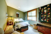 Green bedroom with country style — Stock Photo