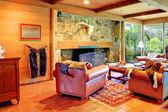 Cowboy horse ranch living room — Stock Photo