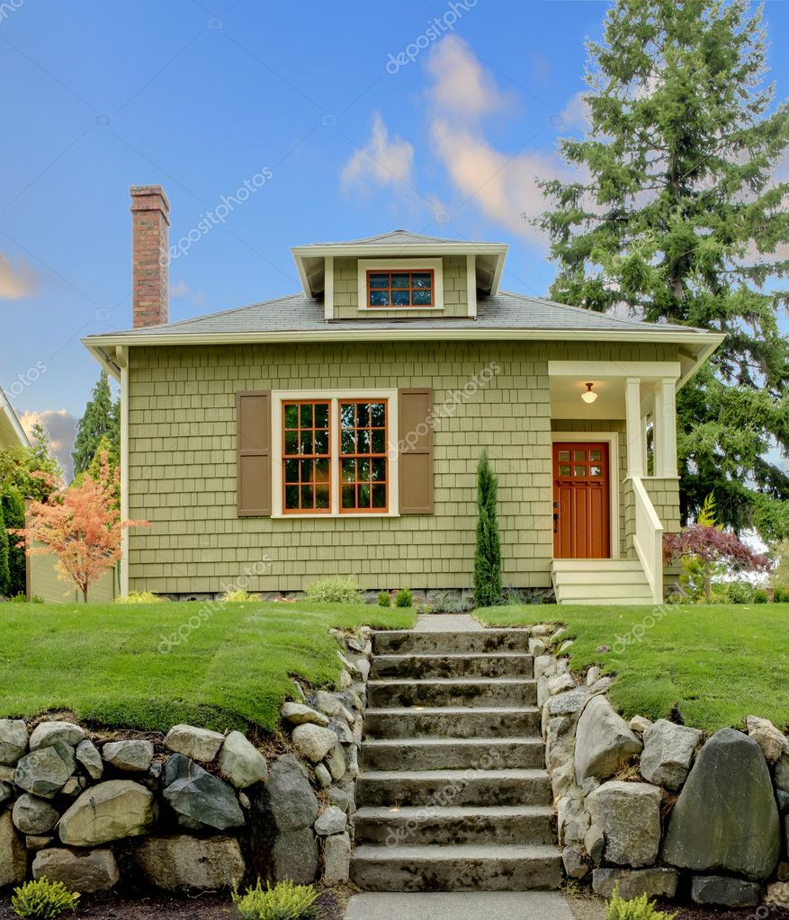 Craftsman Green Cute House Exterior Front Stock Photo