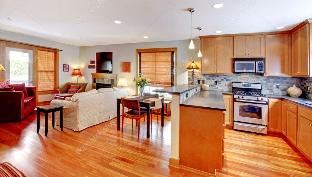 Kitchen dining and living room of the city home stock Open floor plan kitchen dining living room