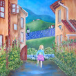 Italivillage. Painting. Girl is running. — Stockfoto #7601329