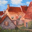 French old village. Oil painting on canvas. — Stock Photo