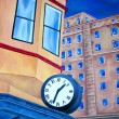 Abstract painting of City building with clock. — Stockfoto #7601376