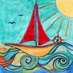 Boat drawing. Sunny sea. Children art. — Stock Photo #7601392