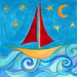 Boat in the blue sea with starts and moon. Drawing. — Stock Photo