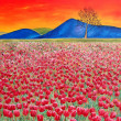 Red tulip field with mountains. Oil painting. — Stock Photo #7601521