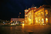 Buzau city hall at night, Romania.The Communal Palace in Dacia Square — Stock Photo