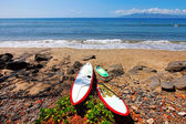 Three surfing boards are resting on the beach — Stock Photo