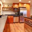 Kitchen. Modern, new, rich wood. — Stock Photo
