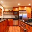 Luxury modern cherry kitchen — Stock Photo