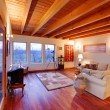 Modern luxury living room with wood ceiling — Stock Photo