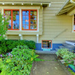 Covered front porch of the old craftsman style home. — Stock Photo