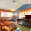Kids biy bedroom with blue and brown. — Photo
