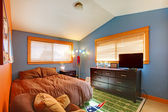 Kids biy bedroom with blue and brown. — Stock Photo