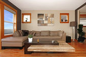 Modern living room interior with leather sofa — Stock Photo