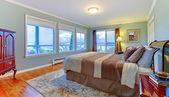 большая зеленая спальня с много windowss и коричневые pedding. — Стоковое фото