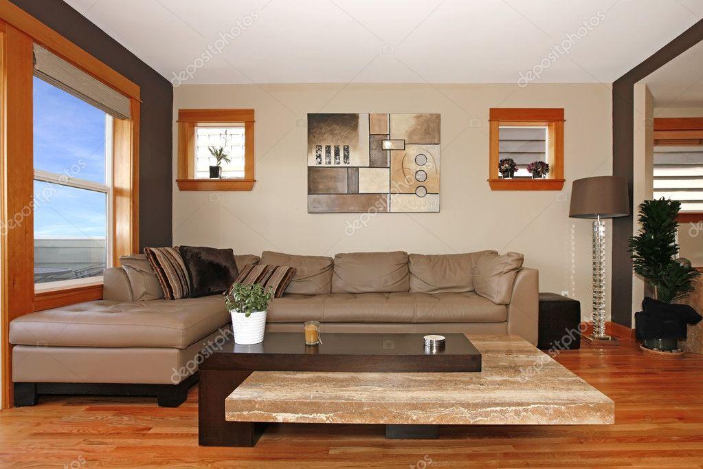 가죽 소파 현대 거실 인테리어 — 스톡 사진 © iriana88w #7882833
