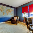 Home office in blue and red with the world map. — Foto de Stock
